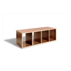 Offi   Stackable Modern Wood Shelf Cubes, Bench Boxes By Offi, Walnut    Bookcases