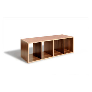 Stackable Modern Wood Shelf Cubes, Bench Boxes by  Offi, Walnut