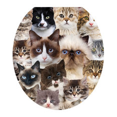 Cats Galore Toilet Tattoos / Toilet Lid Decal, Round/Standard