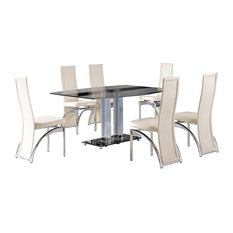 Roma Tempered Glass, Chrome Dining Table, 6 Alisa Leather Chairs, 150 cm, Ivory