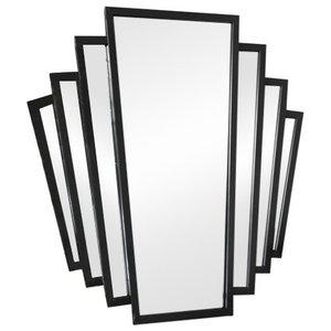 Black Art Deco Fan Style Wall Mirror 55.5cm x 59cm