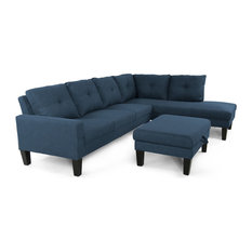 GDF Studio Gill Modern Fabric Sectional With Ottoman, Navy Blue/Black