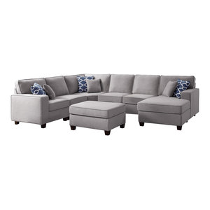 Willowleaf 7Pc Modular Sectional Sofa Chaise Ottoman in Light Gray Linen
