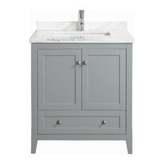 "Eviva Lime 30"" Bathroom Vanity Chilled Gray With White Marble Carrera Top"
