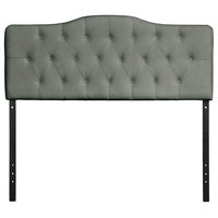 Upholstered Tufted Fabric Headboard ,Queen, Gray