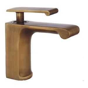 Traditional Retro Bathroom Sink Mixer, Single Lever, Antique Copper Finish