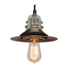 Insulatorlights By Railroadware   Insulator Light LED Pendant Rusted Metal  Hood Edison Bulb 120V/6.5