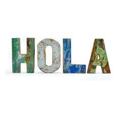 - Letras de madera reciclada - HOLA - Letras para la pared