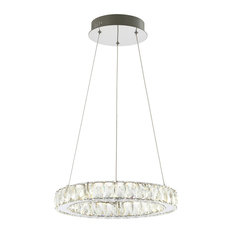 "Reese 15.7"" Adjustable Integrated LED Chandelier Pendant, Chrome"