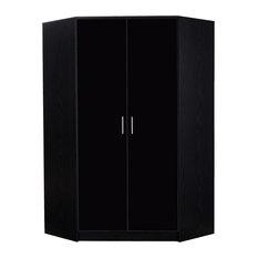 Reflect Glossy Black 2-Door Corner Wardrobe, Black Oak