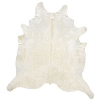 Off-White 100% Premium Cowhide, Solid Color Made, Brazil, 5'x7'