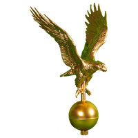 Aluminum Satin Black Flagpole Eagle, Gold Bronze