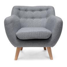 Oskar Fabric Armchair   Grey   Armchairs And Accent Chairs