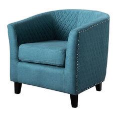 GDF Studio Kasey Harlequin Pattern Fabric Club Chair, Dark Teal