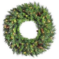"Vickerman Cheyenne Pine Wreath With Pine Cones, 42"", Warm White LED Lights"