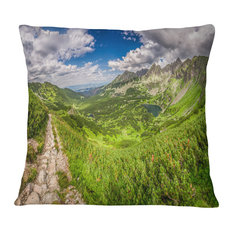 "Mountain Trail in Tatras Panorama Landscape Printed Throw Pillow, 16""x16"""