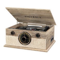 6/1 Bluetooth Record Player with 3-Speed T/table, CD, Cassette Player, Radio