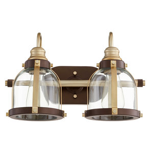 Signature 2 Light Bathroom Vanity Light in Aged Brass And Oiled Bronze