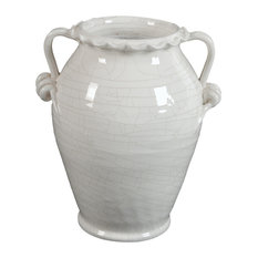 Glazed Ceramic White Vase With Handle, 14""