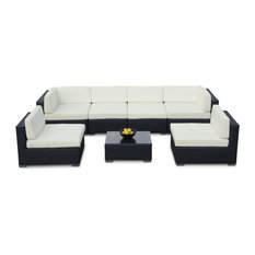 MangoHome - Outdoor Sofa All Weather Wicker Sectional 7-Piece Resin Couch Set - Outdoor Lounge Sets