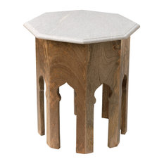 Small Atlas Table,  Natural Mango Wood With White Marble Top