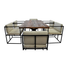 SOLIS Scena Indoor Outdoor Deep Seated 7-piece Dining Set Natural Solid Wood