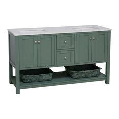 "Lakeshore 60"" Double Bathroom Vanity, Sage Green, Engineered White"