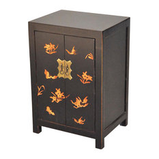 Demeure et Jardin - Black Lacquered Oriental Night Stand - Nightstands And Bedside Tables