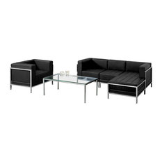 Hercules Imagination Series Black Leather Sectional And Chair 5 Pieces