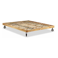 eebeb87e41b8 vidaXL Double Bed Frame Solid Rough Mango Wood 70.9