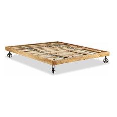 "vidaXL Double Bed Frame Solid Rough Mango Wood 70.9""x78.7"" Bedroom Furniture"