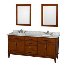 "Hatton 72"" Light Chestnut Double Vanity, White Carrera Marble Top and Oval Sink"