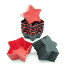 Freshware 12-Pack Silicone Mini Star Baking Cup, Red and Black