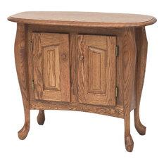 The Oak Furniture Shop   Queen Anne Solid Oak Sofa Hall Table, Golden Oak
