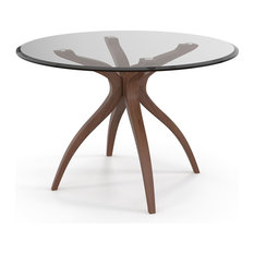 Aeon Furniture Quincy Dining Table In Walnut And Clear Finish AE1328-Glass