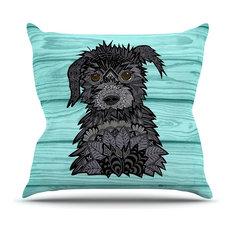 "Art Love Passion ""Little Miss Daisy"" Blue Black Throw Pillow"