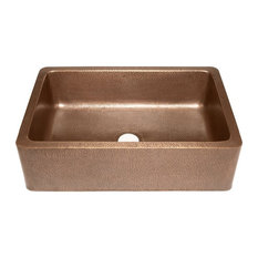 Copper Farmhouse Hammered Apron Sink, Single
