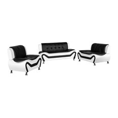 Camille Black And White Living Room Collection 3-Piece Set