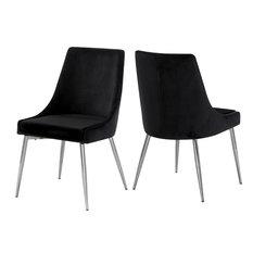 Karina Velvet Dining Chairs, Set of 2, Black, Chrome Base