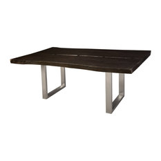 76-inchL Live Edge Wood Dining Table One Of A Kind Ebony Solid Wood Steel