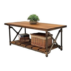Furniture Pipeline   Rectangle Coffee/Cocktail Table, Metal Reclaimed Wood  Finish, Bronze