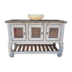 rancho collection san francisco 48 vanity with metal panels vintage gray bathroom - Bathroom Vanity Double