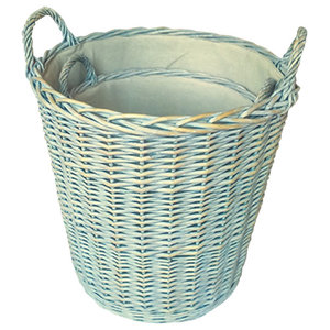 Heavy Duty Provence Lined Log Baskets, Set of 2