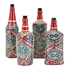 Imax Glass And Cork Set Of 4 Bottle Decor With Multi-Color Finish 95934-4