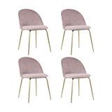 Millennial Brass Velvet Upholstered Dining Chair, Blush Pink, Set of 4