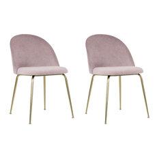 Millennial Brass Velvet Upholstered Dining Chair, Blush Pink, Set of 2