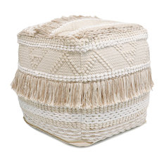 Pasargad Grand Canyon Tassles Cotton Pouf, Beige