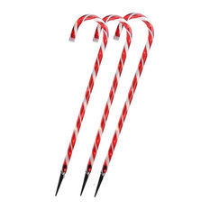 """Northlight Seasonal - Lighted Candy Cane Christmas Outdoor Decorations 28"""", Set of 3 - Holiday Lighting"""