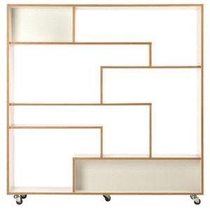 Southbury Large Bookcase, White and Oak