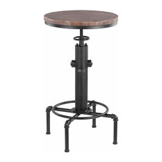 Industrial Round Swivel Bar Table With Metal Frame, Wood Top, Adjustable Height